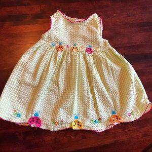 💕 5/$30 green and white checkered ladybug dress